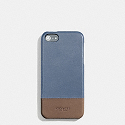 BLEECKER MOLDED IPHONE 5 CASE IN COLORBLOCK LEATHER - f68915 -  FROST BLUE/WET CLAY