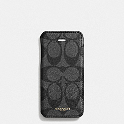 BLEECKER IPHONE 5 CASE WITH STAND IN SIGNATURE COATED CANVAS - BLACK/CHARCOAL - COACH F68924