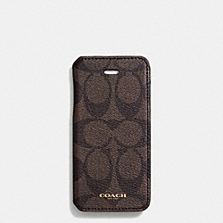 BLEECKER IPHONE 5 CASE WITH STAND IN SIGNATURE COATED CANVAS - MAHOGANY/BROWN - COACH F68924