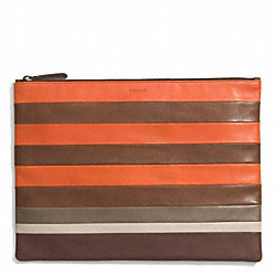 COACH BLEECKER MIXED BAR STRIPE LEATHER PORTFOLIO - SAMBA/FAWN - F68925