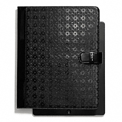 COACH WAVERLY SIGNATURE EMBOSSED COATED CANVAS IPAD FOLIO - SILVER/BLACK - F68936