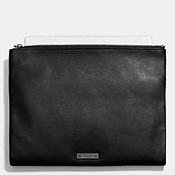 COACH THOMPSON SNAP ZIP POUCH IN LEATHER - BLACK - F68976