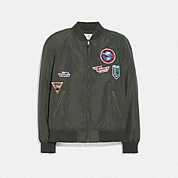 LIGHTWEIGHT VARSITY JACKET WITH PATCHES - OLIVE - COACH F69030