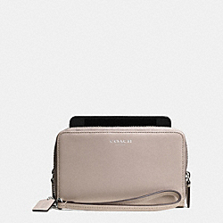 COACH BLEECKER DOUBLE ZIP PHONE WALLET IN LEATHER - SILVER/GREY BIRCH - F69037