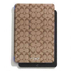 COACH PEYTON SIGNATURE IPAD MINI TRIFOLD CASE - KHAKI/PORCELAIN BLUE - F69078
