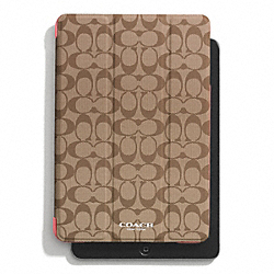 COACH PEYTON SIGNATURE IPAD MINI TRIFOLD CASE - KHAKI/CORAL - F69078