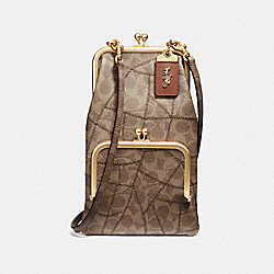 DOUBLE FRAME CROSSBODY WITH SIGNATURE PATCHWORK - B4/TAN LIGHT TAN - COACH F69109