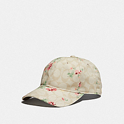 SIGNATURE FLORAL HAT - LIGHT KHAKI - COACH F69170