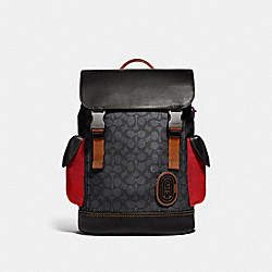 RIVINGTON BACKPACK IN SIGNATURE CANVAS WITH COACH PATCH - JI/CHARCOAL - COACH F69291