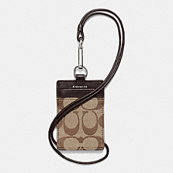 MADISON ID LANYARD IN SIGNATURE - f69381 - SILVER/KHAKI/MAHOGANY