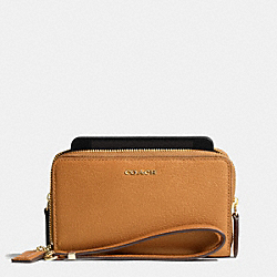 COACH MADISON LEATHER DOUBLE ZIP PHONE WALLET - LIGHT GOLD/BURNT CAMEL - F69382