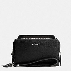 COACH MADISON DOUBLE ZIP PHONE WALLET IN LEATHER - SILVER/BLACK - F69382