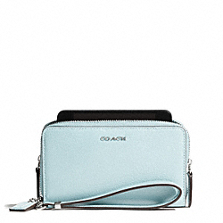 COACH MADISON LEATHER DOUBLE ZIP PHONE WALLET - SILVER/SEA MIST - F69382