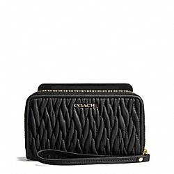 COACH MADISON EAST/WEST UNIVERSAL CASE IN GATHERED TWIST LEATHER - LIGHT GOLD/BLACK - F69436