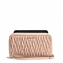 COACH MADISON EAST/WEST UNIVERSAL CASE IN GATHERED TWIST LEATHER - LIGHT GOLD/PEACH ROSE - F69436