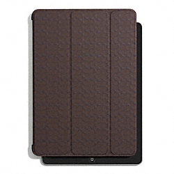 COACH SIGNATURE EMBOSSED MOLDED IPAD CASE - MAHOGANY - F69713