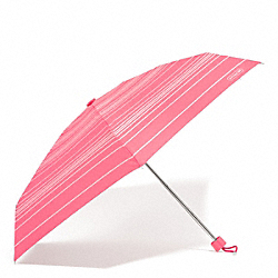 VARIEGATED STRIPE MINI UMBRELLA - SILVER/CORAL - COACH F69721