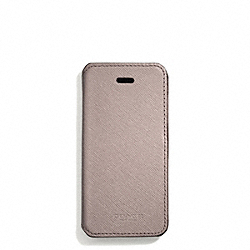 COACH SAFFIANO LEATHER IPHONE 5 CASE WITH STAND - LIGHT GOLD/GREY BIRCH - F69776