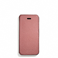 COACH SAFFIANO LEATHER IPHONE 5 CASE WITH STAND - LIGHT GOLD/ROUGE - F69776