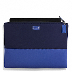 COACH NEOPRENE LARGE TECH POUCH - SILVER/NAVY/COBALT - F69876