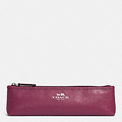 DARCY LEATHER BRUSH CASE - SILVER/MERLOT - COACH F69916