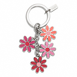 COACH FLOWER MIX KEY RING - SILVER/PINK MULTICOLOR - F69937