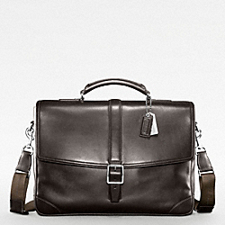 COACH TRANSATLANTIC FLAP BUSINESS BRIEF - SILVER/DARK BROWN - F70304
