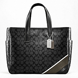 COACH HERITAGE STRIPE BUSINESS TOTE - SILVER/BLACK/CHARCOAL - F70395