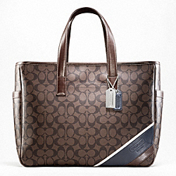 COACH HERITAGE STRIPE BUSINESS TOTE - SILVER/MAHOGANY/BROWN - F70395