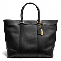 COACH BLEECKER LEATHER WEEKEND TOTE - BLACK - F70487