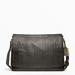 BLEECKER EMBOSSED TICKING STRIPE COURIER BAG COACH F70525