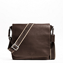 COACH HERITAGE WEB LEATHER MAP BAG - SILVER/BROWN - F70555