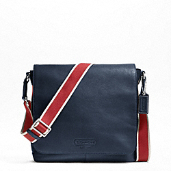 COACH HERITAGE WEB LEATHER MAP BAG - SILVER/NAVY/RED - F70555