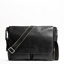 COACH HERITAGE WEB LEATHER MESSENGER - SILVER/BLACK - F70556