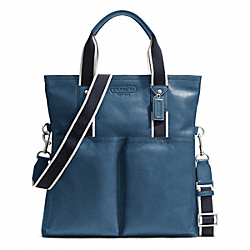 COACH HERITAGE WEB LEATHER FOLDOVER TOTE - SILVER/MARINE - F70558