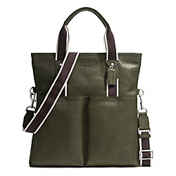 COACH HERITAGE WEB LEATHER FOLDOVER TOTE - SILVER/OLIVE - F70558