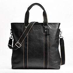 COACH HERITAGE WEB LEATHER UTILITY TOTE - SILVER/BLACK - F70560