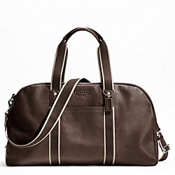 COACH HERITAGE WEB LEATHER DUFFLE - SILVER/BROWN - F70561
