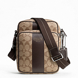 COACH HERITAGE STRIPE FLIGHT BAG - SILVER/KHAKI/BROWN - F70589