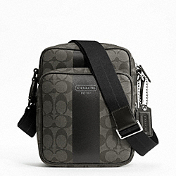 COACH HERITAGE STRIPE FLIGHT BAG - SILVER/GREY/CHARCOAL - F70589