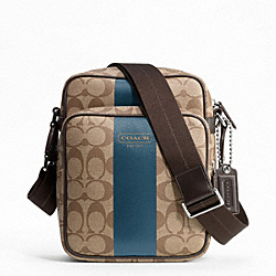 HERITAGE STRIPE FLIGHT BAG - SILVER/KHAKI/STORM BLUE - COACH F70589