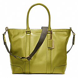 COACH BLEECKER LEATHER BUSINESS TOTE - BRASS/LIME - F70600