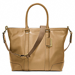 COACH BLEECKER LEATHER BUSINESS TOTE - BRASS/SAND - F70600