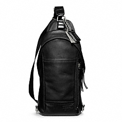 COACH THOMPSON LEATHER CONVERTIBLE SLING PACK - SILVER/BLACK - F70617