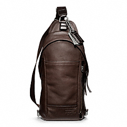 THOMPSON LEATHER CONVERTIBLE SLING PACK - SILVER/MAHOGANY - COACH F70617