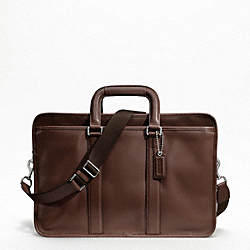 LEXINGTON LEATHER EMBASSY BRIEF - SILVER/MAHOGANY - COACH F70662