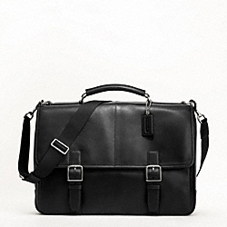 COACH LEXINGTON LEATHER FLAP BUSINESS BRIEF - SILVER/BLACK - F70666