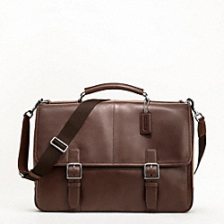 COACH LEXINGTON LEATHER FLAP BUSINESS BRIEF - SILVER/MAHOGANY - F70666
