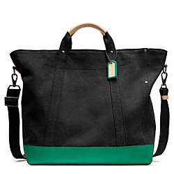 COACH WASHED CANVAS BEACH TOTE - BLACK - F70688