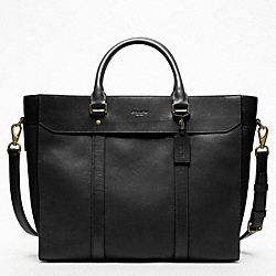 NEW CROSSBODY LEATHER BUSINESS TOTE - BRASS/BLACK - COACH F70715